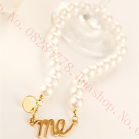 Fashion Big Easy to match Letters me Big pearls Necklace