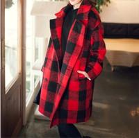 S-XL Free Shipping 2014 Autumn Winter New Korean simple Long Design Loose Ladies' Plaid wool coat Blends 141019#2