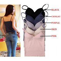 Deep V Neck Non Wired Modal Adjustable Strappy Lady Thin Padded Push Up Vest Bottom Bra #66502