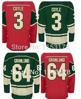 Free shipping Hots #64 Mikael GRANLUND #3 Charlie COYLE #37 Josh HARDING white green red Mens Ice Hockey jerseys