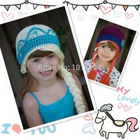 2014 New Handmade Crochet Frozen Hat, Elsa & Anna Beanie Twins Frozen Hat 100% high quality hats caps for baby girls children
