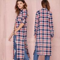 2014 Women blusas casual boyfriend style women loose long split shirt with Scotland plaid pattern for wholesale free shipping
