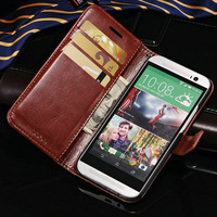 DHL Luxury PU Leather Book Style Case For HTC One m8 with Stand Design and Card Slot 50 pcs/lot