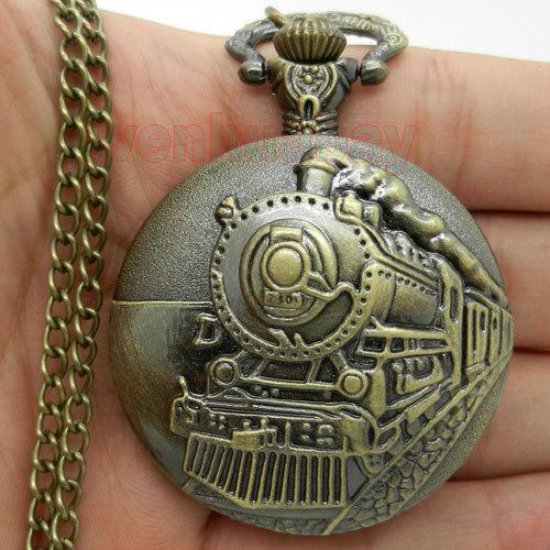 2014 New Antique Train Front Locomotive Engine Quartz Antique Pocket Watch for Men and Women P107(China (Mainland))