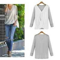 Hot Sale New Fashion Ladies Women's Shirts Casual Long Sleeve Loose V-neck Stitching Knit Chiffon Shirts Blouse Tops cx657141