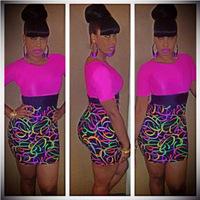 New 2014 Summer Sexy&Club Women Colorful Print Patchwork Short Sleeve Mini Bandage Dress Vestidos, S, M, L