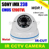 """1/3""""SONY IMX238 CMOS Sensor 1200TVL Super WDR 4-9mm Varifocal Lens OSD Menu Dome CCTV Camera"""