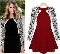 New 2014 Autumn Cute Women Slim Fit Lace Tunic Waistline Lone Sleeve Dress Vestidos, Black, Burgundy, S, M, L, XL