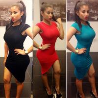 New Hot 2014 Autumn Sexy Women Nightclub Package Hip Side Open Fork Irregular Hem Sheath Dress Vestidos, 3 Colors, S, M, L