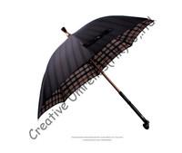 Self-defense crutch umbrellas,old man's unbreakable umbrellas,walking stick,all in one parasols,brass shaft,British check design