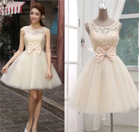 2014 New Fashion Cheap Short Bridesmaid Dress Lace Ball Gown Prom dresses with Bow Tanks Sweetheart Princess Dresses