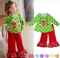5sets/lot 2014 New Autumn 2pcs Dot Baby Girls Suit Set green Shirt+ red Pants Girl Outfits, A-bg271