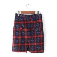 2014 New Brand  Fashion Womens Color Block Plaid Split Elegant Slim Waist Autumn Winter Skirt skirts SML