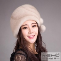 Mink skin hat Women strawhat winter ear cap winter women's 2014
