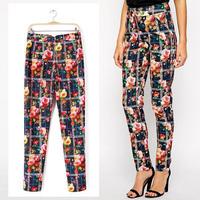 2014 Vintage Women Retro Slim Orient Floral Plaid Print Casual Pencil Pants Trousers