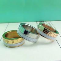 New Arrival Luxury Brand Black/White Ceramic Rotatable Ring Titanium Stainless Steel Gear Ring Men Women Lovers Couples Ring 18K