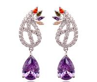 2014 New Fashion Zircon Earrings Top Multicolor Zirconia Dangle Earring Jewelry Christmas Gifts Accessories For Women