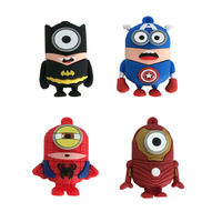 Fashion Captain America Batman Spider-man Iron Man Minions Style Genuine 2-32GB Usb 2.0 Memory Flash Stick Pen Drive LU544
