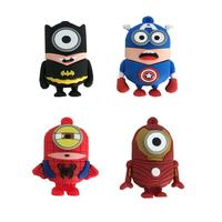 Fashion Captain America Batman Spider-man Iron Man Minions Style Genuine 2-32GB Usb 2.0 Memory Flash Stick Pen Drive LU544