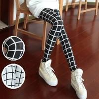 2014 fashion women plus thick velvet milk silk checkered leggings high elastic pantyhose
