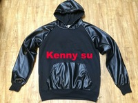 2014 cool hiphop fashion mens pyrex pu leather short sleve hoodie sweater m to 3xl