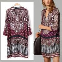 2014 Women Trendy Garden Style Ethnic Floral Totem Printing 3/4 Sleeve Blouse Dress
