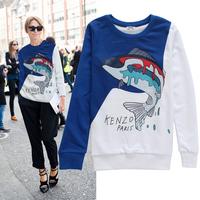 2014 autumn new arrival colorful shark long sleeve women hoodies sweatshirts 2colors S,M,L,XL