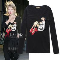 2014 cartoon print V-neck cotton slim long sleeve t shirt women 3colors S,M,L,XL