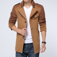 Men's clothing 2014 thickening winter outerwear slim wool overcoat casual medium-long trench