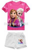 Free shipping New Arrival frozen summer set,girl short sleeve shirt + short set,cartoon clothing set,5sets/lot wholesale