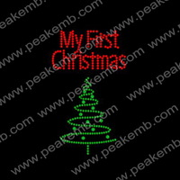 Free Shipping 50Pcs/Lot My First Christmas Rhinestone Bling Transfer Iron On For Xmas Decoration Wholesale
