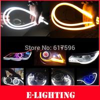 2 x 24''(60cm) DRL LED Daytime Runing Light White/Amber Flexible Soft Tube Strip Switchback Headlight for VW Ford Kia Chevrolet
