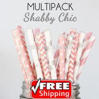 250pcs Mixed 5 Designs SHABBY CHIC Bulk Paper Straws UK, Baby Pink and Silver Polka Dot,Chevron,Striped,Star,Swiss Dot