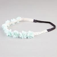 Women Girl Fabric Flower small Chiffon flower Headband Hair bands lace Hairbands Hair Accessories 20Pcs/lot