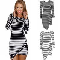 Sexy Mini Stripe Dress Horizontal Asymmetric Hem Crew Neck Long Sleeve Slim stylish striped flouncing Party Dresses LQ4772