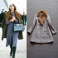 Top Quality!New European Celebrity Inspired Fashion Winter Wool Coat Women Rabbit Fur Collar Casual Long Woolen Outerwear XL
