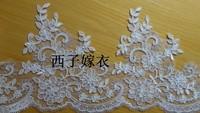 DIY19 cm wide luxury corded lace mesh silver wire edge lace veil lace bridal head lace trim