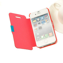 Phone Case Leather Hard Skin Pouch Wallet Case Cover Mobile Phone Accessories For Applle IPh0ne 4