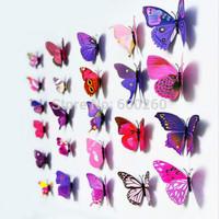 12pcs 3D Butterfly Sticker Art Wall Mural Door Decals Home Decor Room 2015 New free shipping