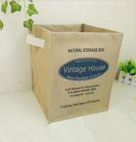Home organization square box zakka fabrics desktop sundries dirty clothing linen storage basket laundry baskets
