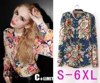 Autumn new European and American women's long-sleeved shirt Slim yards sexy chiffon shirts women brand floral chiffon shirt