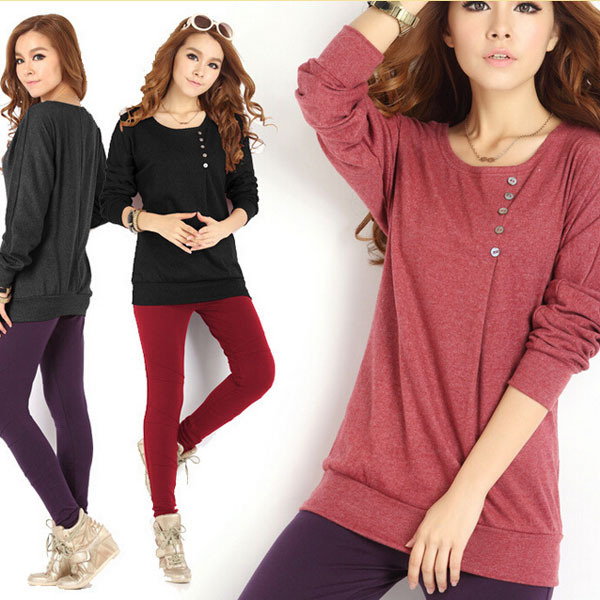 soft cotton shirt bottoming solid color long sleeve large size T-shirt bat sleeve shirt(China (Mainland))