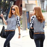 2014 women's asymmetrical slim long-sleeve plaid shirt all-match casual shirt female patchwork blouse basic shirts LSH9861LMX