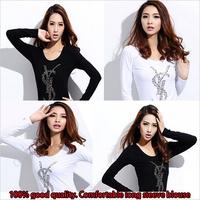 New Arrival Autumn Fashion Desigual T shirt Womens Long sleeve Tops Plus Size Women T Shirt 2014 White & Black Free Shipping