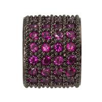 3pc Black Gun Metal with Fuchsia Crystal Spacer Charm Beads A1229