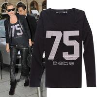 2014 New arrival print letters slim long sleeve cotton t shirt women 2colors S,M,L,XL