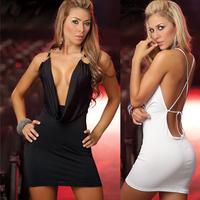 New 2014 Summer Sexy&Club Women Spaghetti Strap Deep V-Neck Mini Dress, Black, White, Size Free