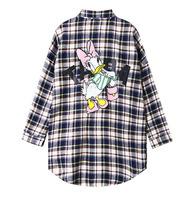 DW-09 Cartoon Donald Duck Harajuku shirts Autumn Loose Casual Big size Plaid shirt Women shirts Long sleeve Blusas femininas