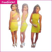 Promotion! Elegant Yellow Backless Bandage Women's Dresses Mini Sleeveless Elastic O Neck Party Bodycon Novelty Dress