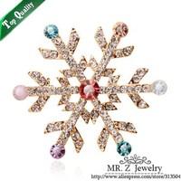 Christmas Gift Fashion 18K Gold GP Rhinestone Snowflake Brooch 5pcs/lot Free Shipping